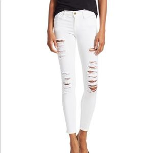 FRAME White Le Color Ripped Skinny Jeans